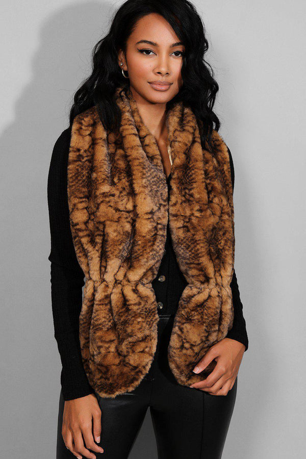 Brown Animal Print Faux Fur Scarf