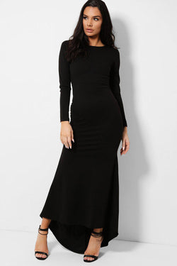 Black Keyhole Back Fishtail Dip Hem Maxi Dress - SinglePrice
