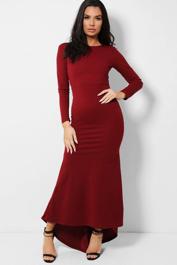 Burgundy Keyhole Back Fishtail Dip Hem Maxi Dress
