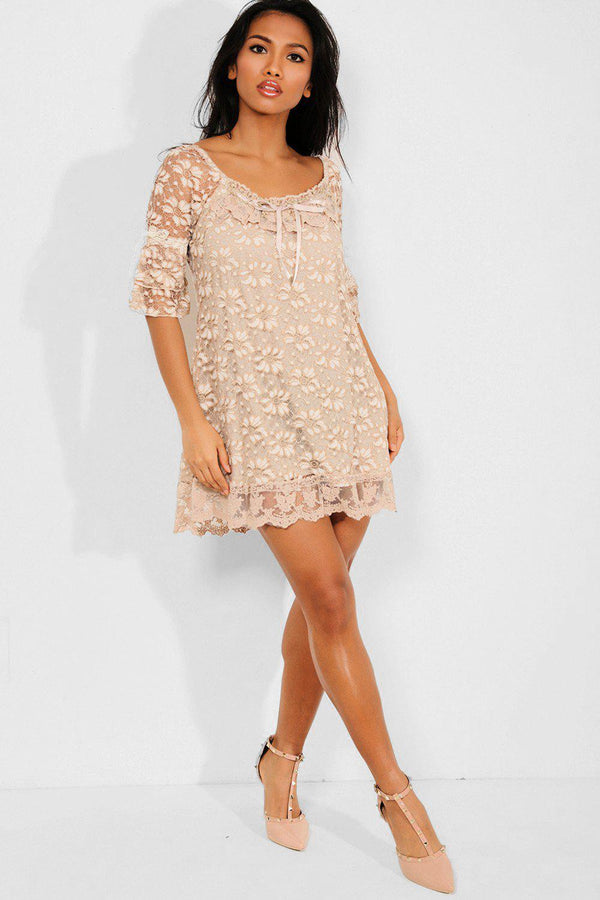 Brown Floral Lace Short Sleeves Mini Dress - SinglePrice