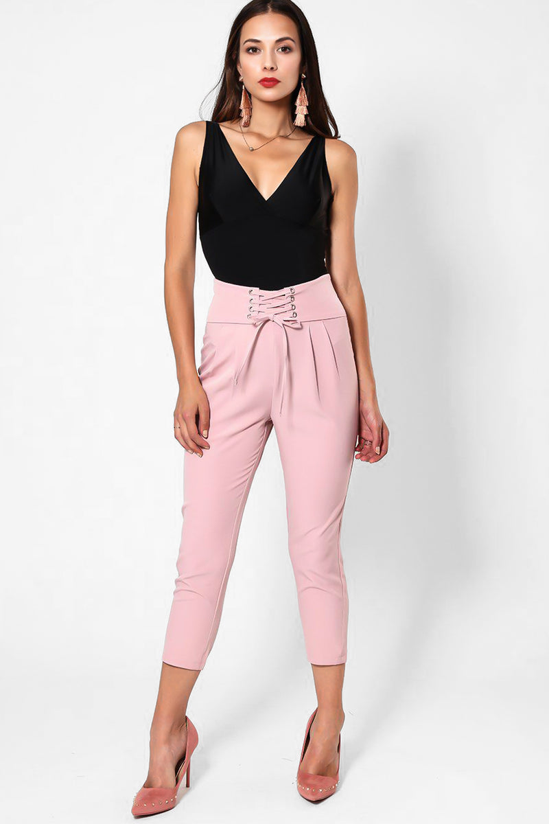 Laced Up Waist Pink Smart Cropped Trousers - SinglePrice