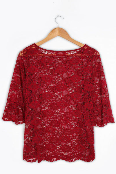 Burgundy Sheer Lace Blouse-SinglePrice