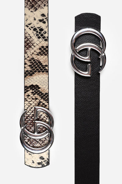 Silver Buckle Brown Snake Print Reversible Belt-SinglePrice