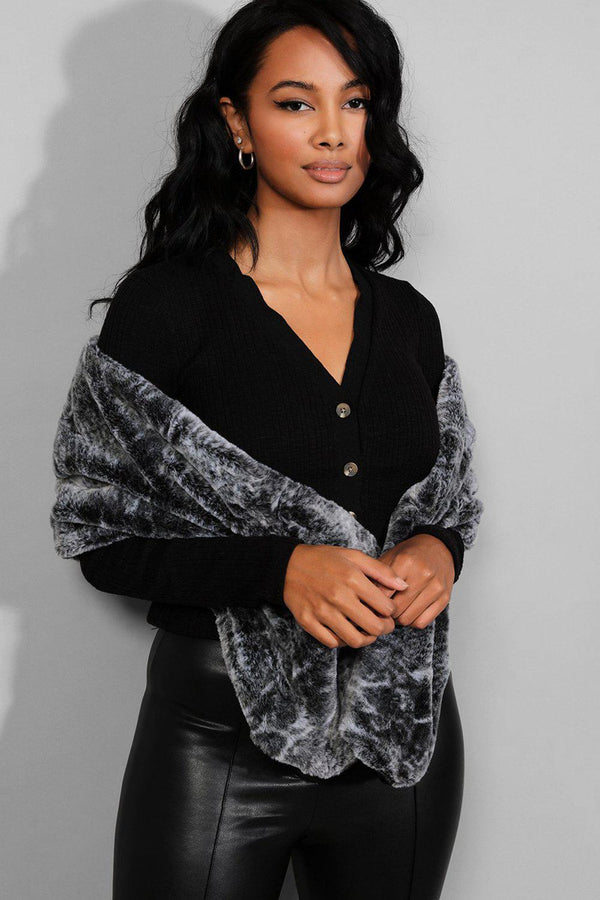 Black Animal Print Faux Fur Scarf