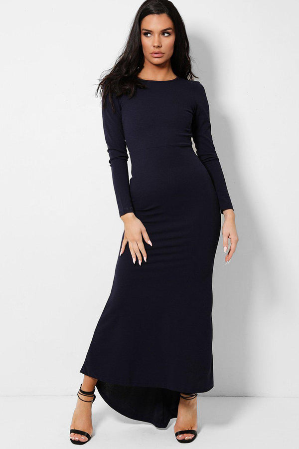 Navy Keyhole Back Fishtail Dip Hem Maxi Dress