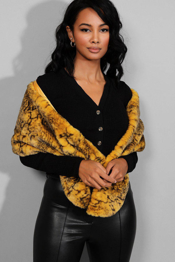 Mustard Animal Print Faux Fur Scarf