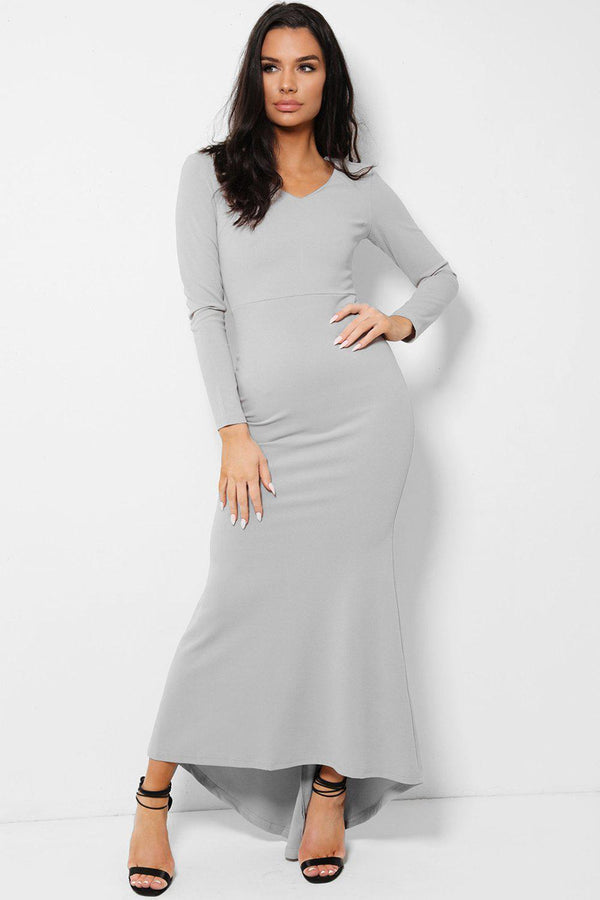 All Grey V-Neck Fishtail Dip Hem Maxi Dress - SinglePrice