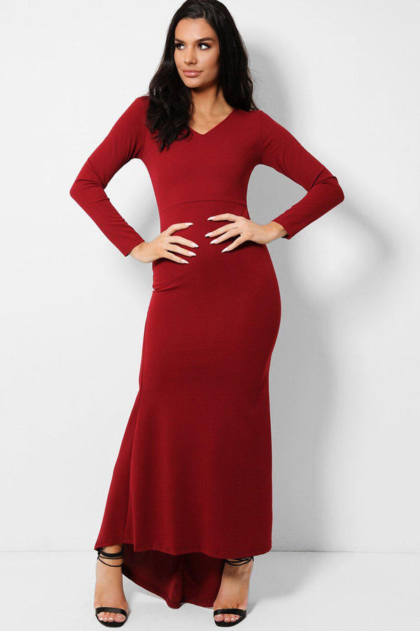 All Wine V-Neck Fishtail Dip Hem Maxi Dress - SinglePrice