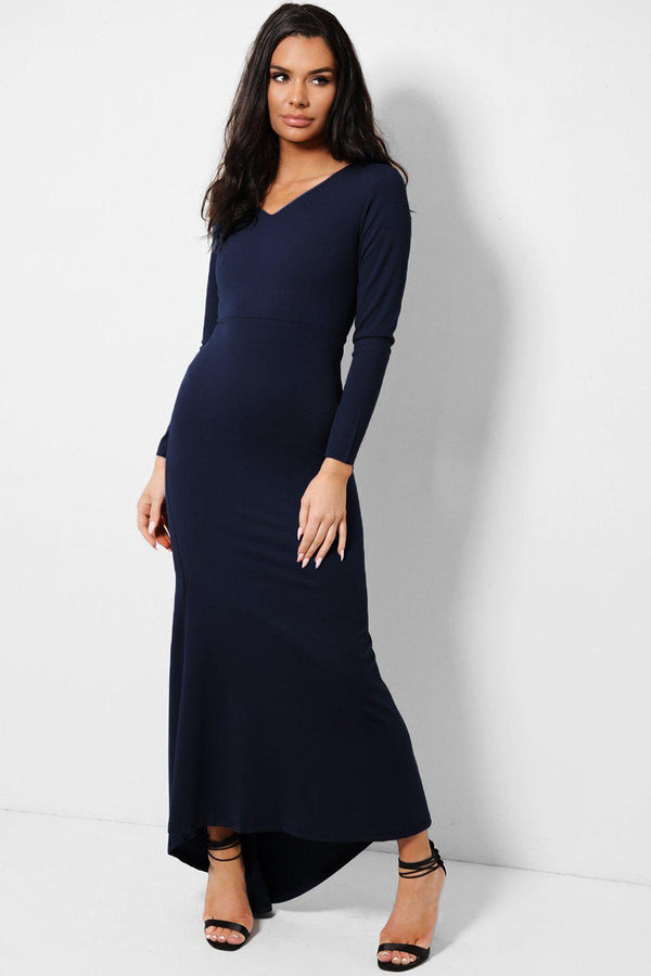 All Navy V-Neck Fishtail Dip Hem Maxi Dress - SinglePrice