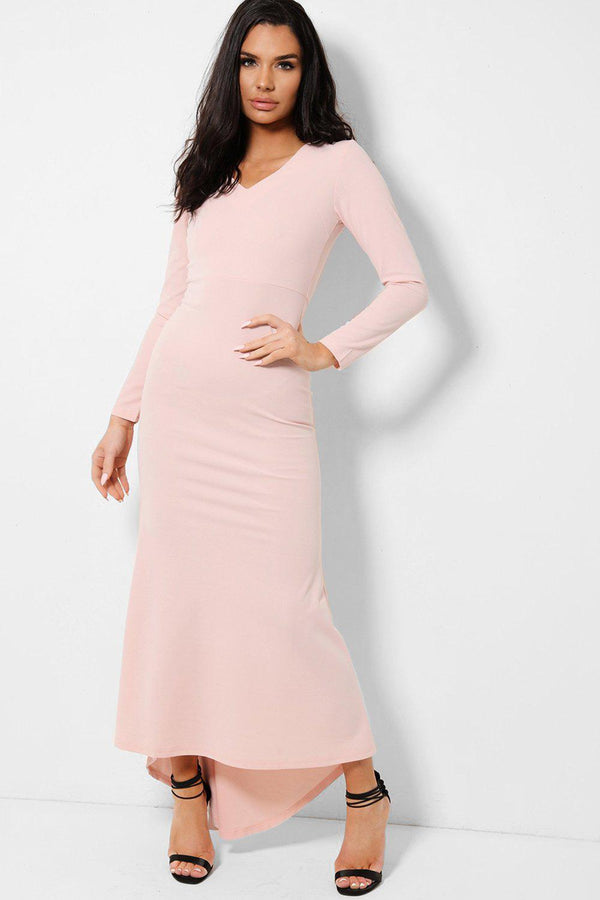 All Pink V-Neck Fishtail Dip Hem Maxi Dress - SinglePrice