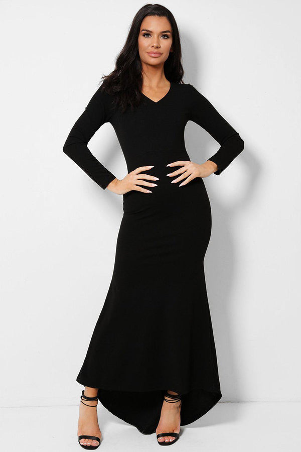 All Black V-Neck Fishtail Dip Hem Maxi Dress - SinglePrice