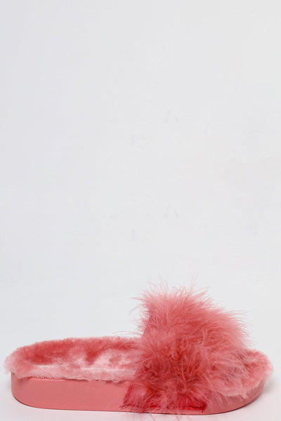 Fur Lined Pink Feather Slippers-SinglePrice