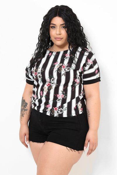 Floral Royal Black Stripes Print Top