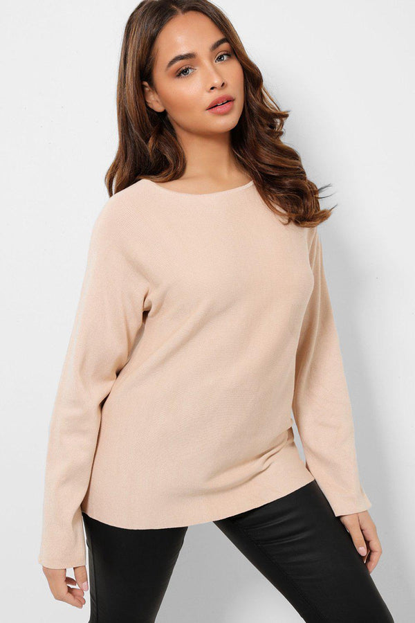 Beige Rib Knit Flute Cut Sleeves Jumper