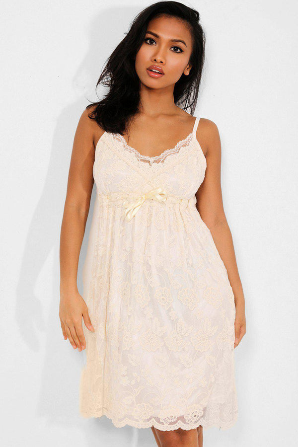 Cream Lace Empire Waist Cami Dress - SinglePrice