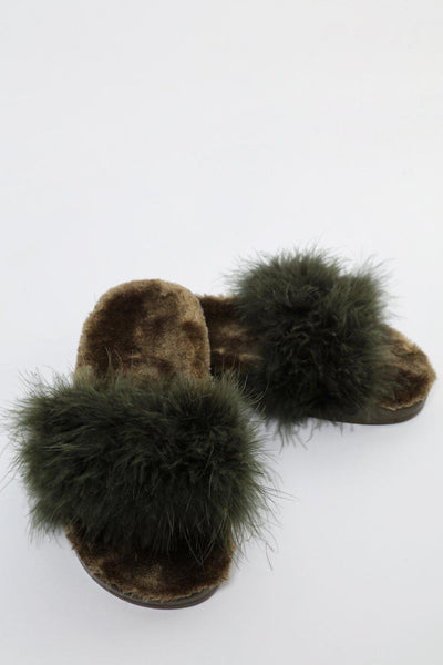 Fur Lined Green Feather Slippers-SinglePrice