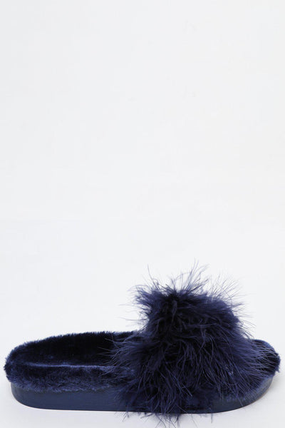 Fur Lined Blue Feather Slippers-SinglePrice