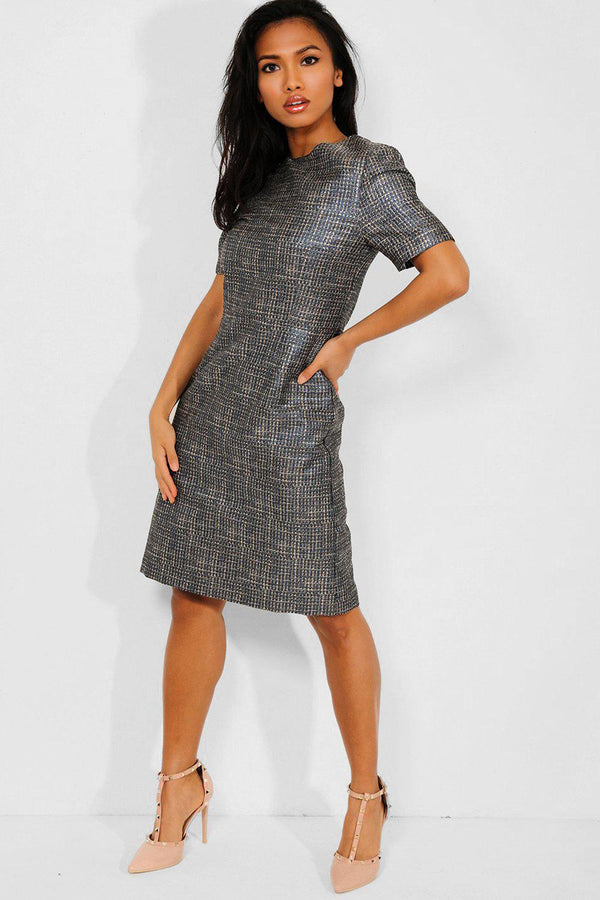 Blue Gold Lurex Stripe Office Midi Dress - SinglePrice