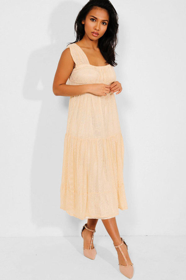 Cream Delicate Lace Overlay Tiered Dress - SinglePrice