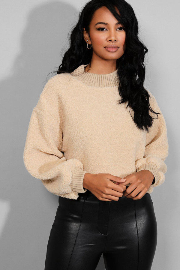 Beige Ribbed Trims Teddy Bear Cropped Pullover