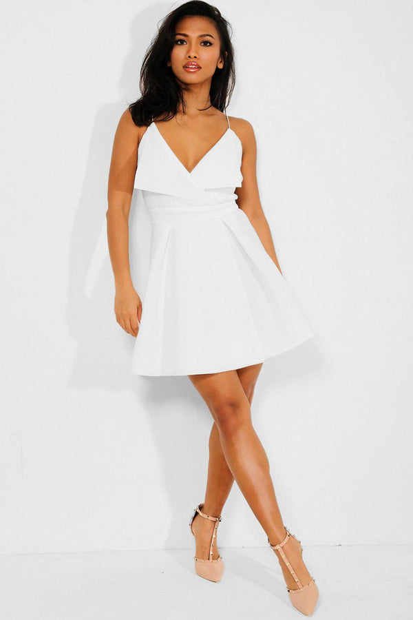 White V-Neck Cami Skater Dress - SinglePrice