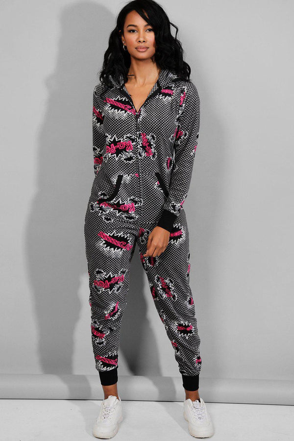 Black Pink Cartoon Print Onesie