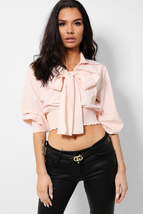 Pink Pussy Bow Front Shirred Crop Top