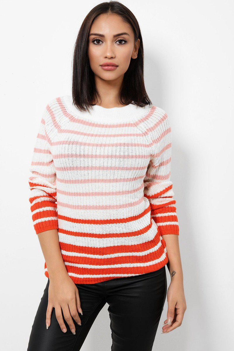 White Knitted Jumper In Orange Stripes - SinglePrice