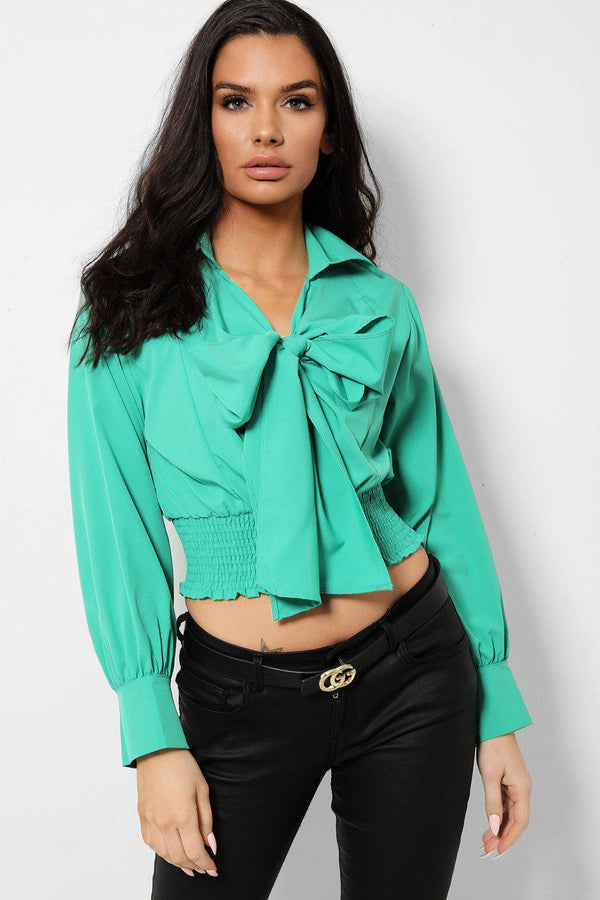 Green Pussy Bow Front Shirred Crop Top