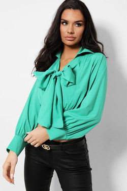 Green Pussy Bow Front Shirred Crop Top - SinglePrice