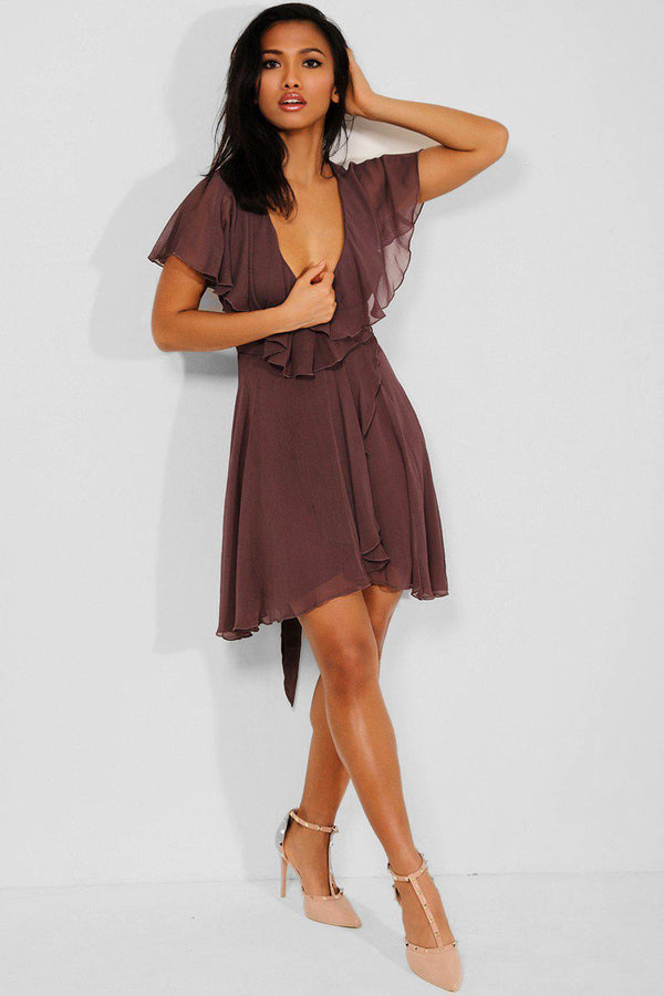 Purple Chiffon Overlay Wrap Batwing Dress - SinglePrice