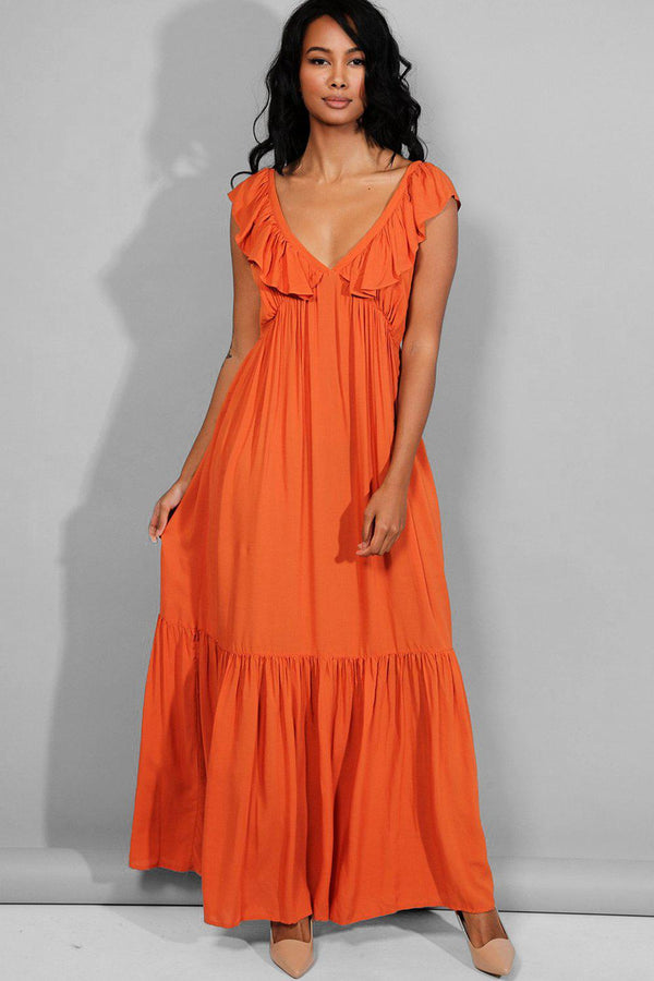 Rust Plunge neck Tiered Maxi Dress - SinglePrice