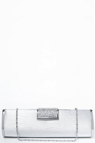 Encrusted Closure Silver Evening Bag-SinglePrice