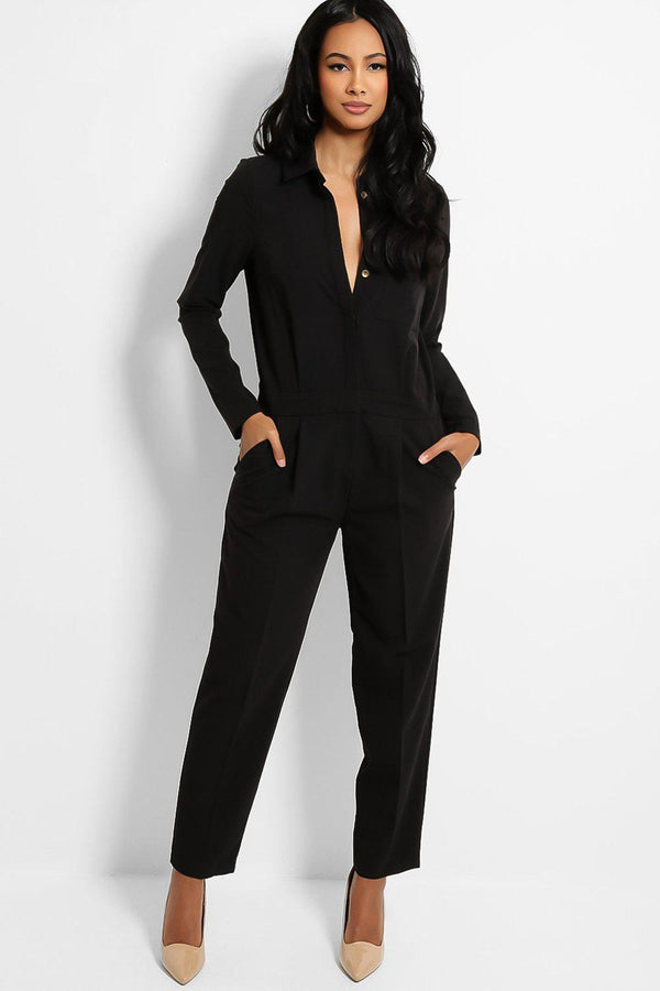 Black Cigarette Legs Smart Jumpsuit - SinglePrice