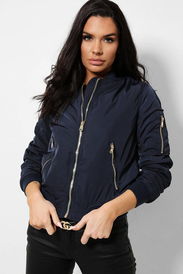 Navy Satin Touch Ribbed Trims Bomber Jacket