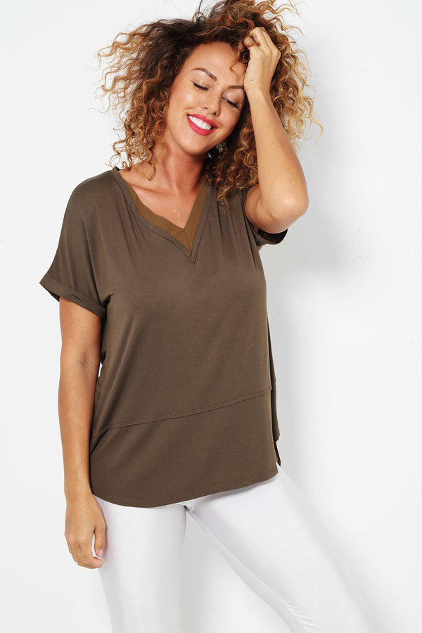 Khaki Chiffon layer Dip Back Top