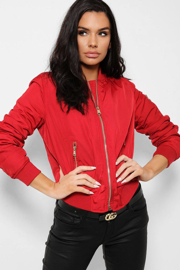 Red Satin Touch Ribbed Trims Bomber Jacket