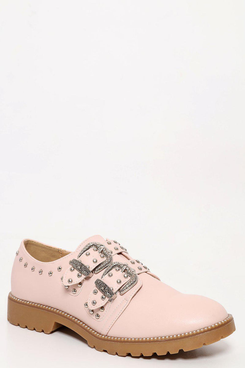 Studded Buckle Details Beige Flat Shoes - SinglePrice
