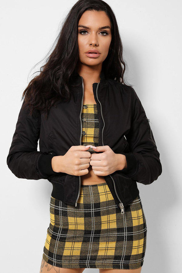 Black Satin Touch Ribbed Trims Bomber Jacket