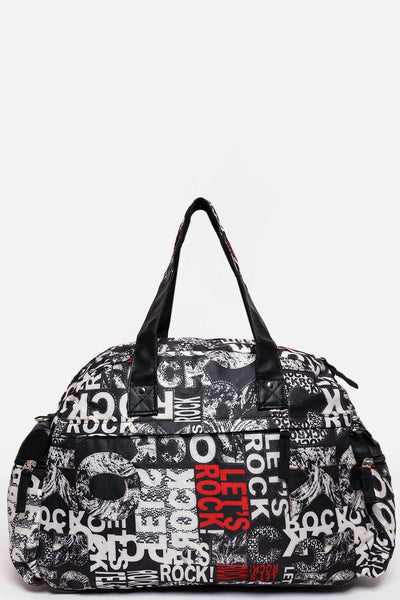 Red Rock Print Nylon Large Travel Bag-SinglePrice
