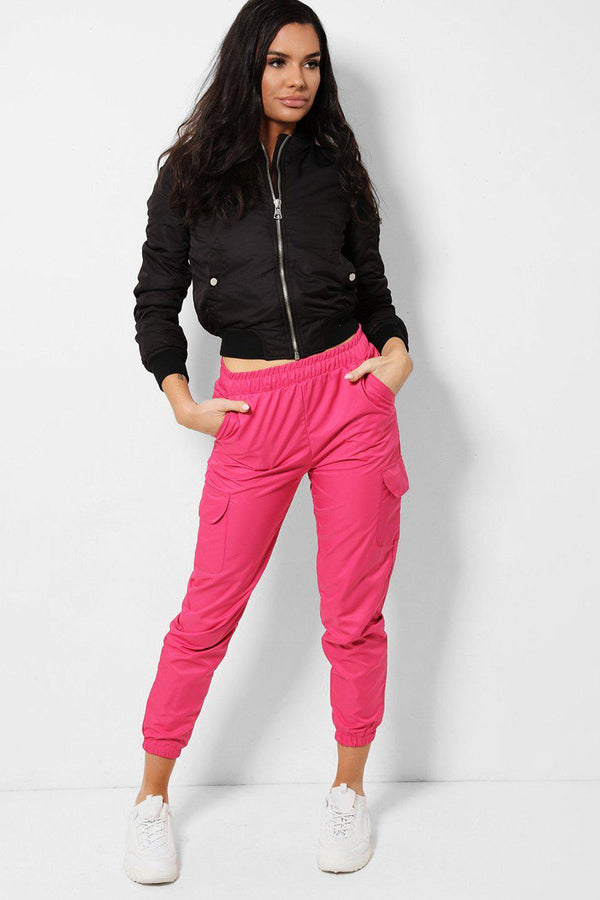 Hot Pink Side Pockets Cargo Trousers-SinglePrice