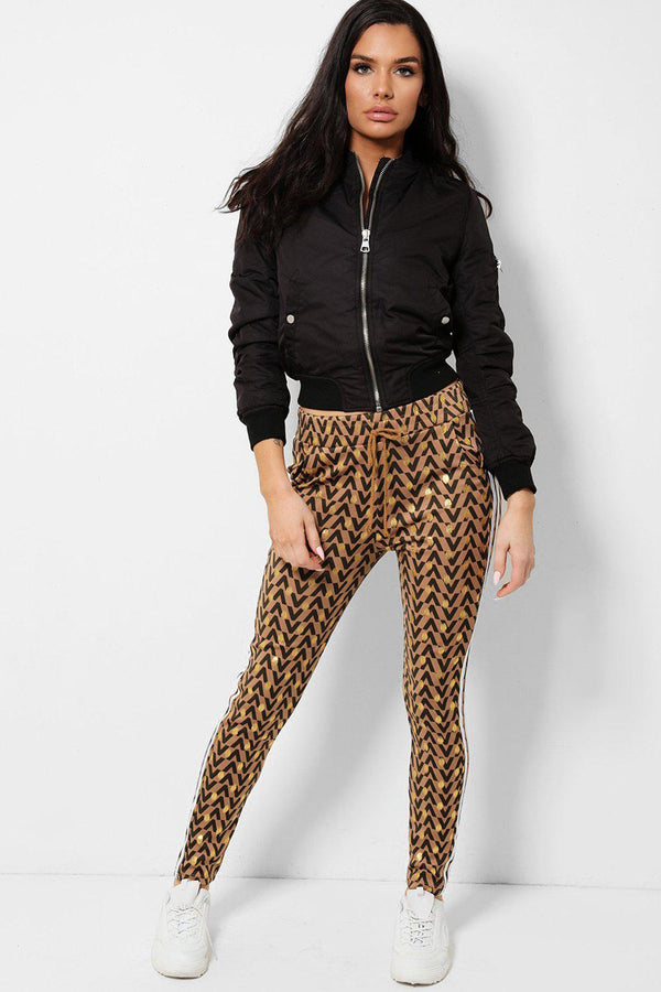 Brown V-Print Twin Side Stripe Stretchy Leggings - SinglePrice