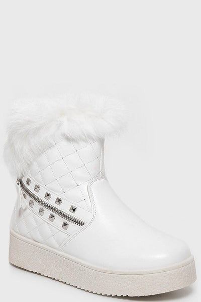 Quilted And Studded Fur Top White Boots-SinglePrice