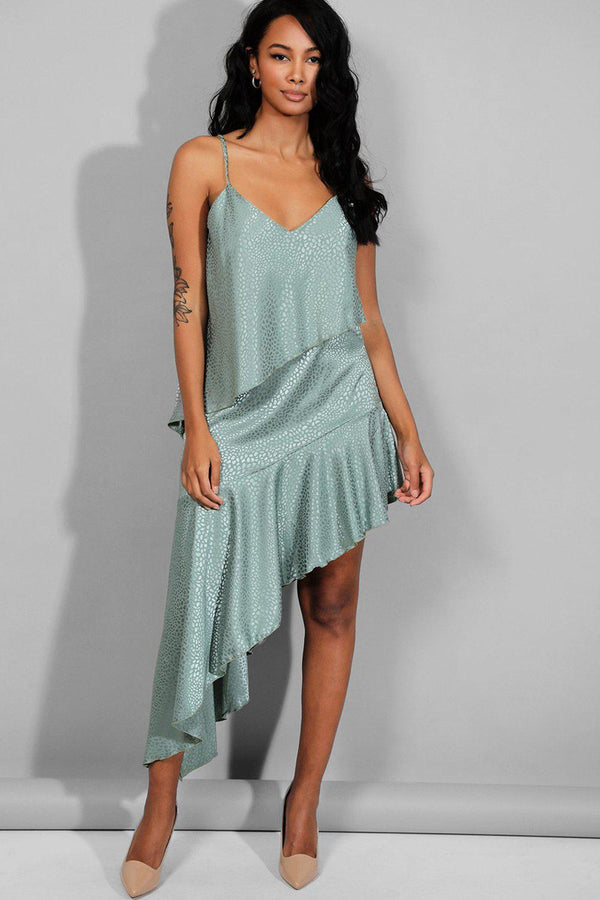 Mint Textured Satin Asymmetric Hem Cami Dress