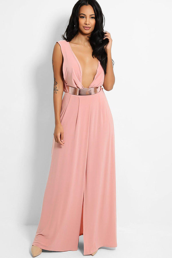 Pink Deep Plunge Rose Gold Belt Thigh Split Slinky Maxi Dress - SinglePrice