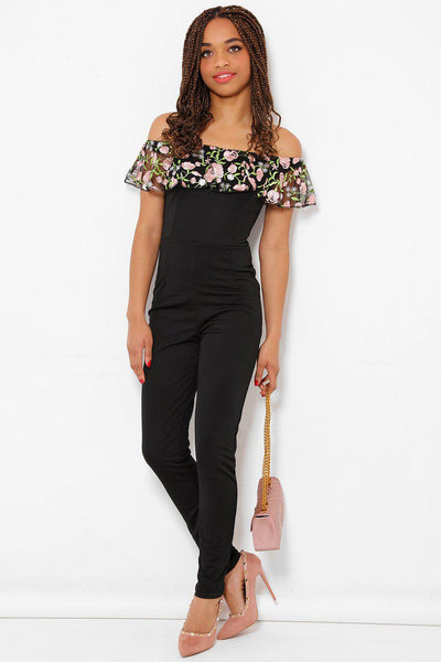 Embroidered Lace Black Bardot Jumpsuit-SinglePrice