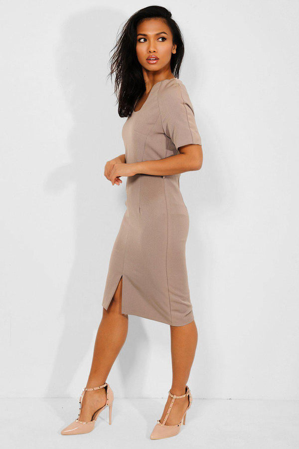 Taupe Front Split Office Midi Dress - SinglePrice