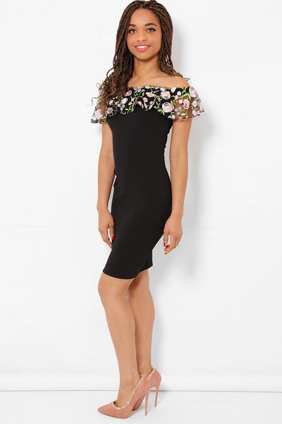 Embroidered Lace Black Bardot Dress-SinglePrice