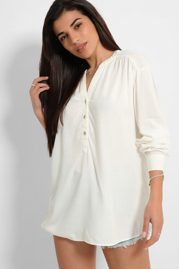 White Lightweight Half Buttoned Front Shirt