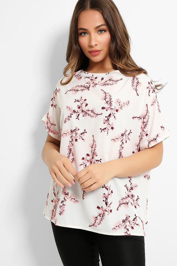 Pink Cherry Blossom Print Top - SinglePrice